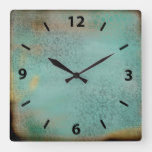 Farmhouse Style Rustic Antique Teal Faux Lace Square Wall Clock