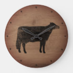 Holstein Cow Silhouette Rustic Style Large Clock