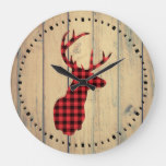 Plaid Deer Head with Antlers on Faux Wood Large Clock