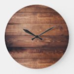 Rustic dark barn wood pattern country large clock