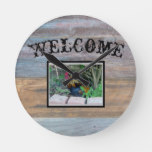 Rustic Rooster Welcome Wall Clock