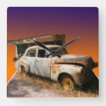 Rustic Vintage Motorcar And Garage, Square Wall Clock