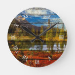Rustic Watercolor Art Forest Lake And Mountains Round Clock