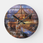 Rustic Watercolor Deer Autumn Landscape Painting Round Clock
