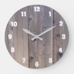 Weathered Wood Fence Look Large Clock