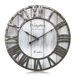 Westzytturm Large Rustic Wood Wall Clocks Battery Operated Non Ticking Quartz Movement Silent Exact Time Easy to Read Classic Art Antique Home Decor for Living Room Office Mantel (Grey, 18 inches)