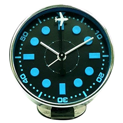 Time Concept Round Decorative Bedside Alarm Clock – Blue Airplane – 1 x AA Battery Operated