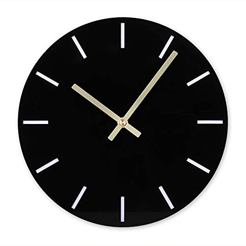 BB67 Clock Modern Fashion Acrylic Removable DIY Acrylic Wall Clocks Decorative Clock Round Home/Office/School Clock (F, Black)