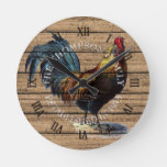 Custom Cute Farmhouse Rooster On Old Wood Planks Round Clock