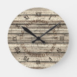 Custom Rustic Weathered Cornsilk Plank Pattern Round Clock