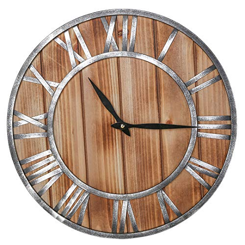 CHSSHC Rustic Wall Clock Wood Silent Vintage Roman Numeral Wall Clock Battery Operated Metal & Solid Wooden Clock Hanging for Farmhouse,Bar,Cafe,Living Room (16 inch)