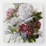 Pierre Joseph Redoute – A Bouquet Of Red Peonies Square Wall Clock