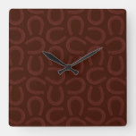 Rustic Brown Western Horseshoes Horse Themed Art Square Wall Clock