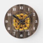Rustic Sunflowers & Wood Wheel Country Round Clock