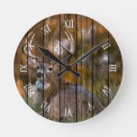 Rustic Watercolor Stag In Autumn Field Painting Round Clock