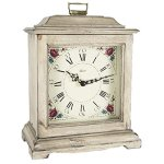 Qwirly Austen Bracket-Style Quartz Mantel Clock 22518WHQ Classic Decorative Antique Style Table Clock with Westminster Chime Movement – Antique White