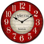 Boston Harbor Red Wall Clock, Available in 8 Sizes, Most Sizes Ship The Next Business Day, Whisper Quiet.
