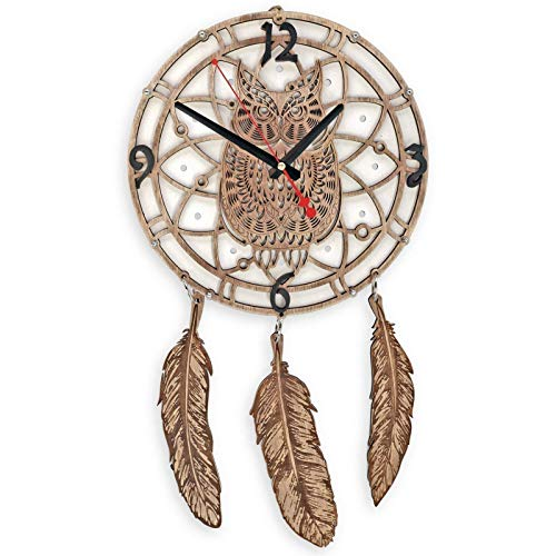 Dreamcatcher large wall clock White Owl dream catcher large gypsy boho bed decor gypsy wedding decor large dreamcatcher dreamcatcher boho