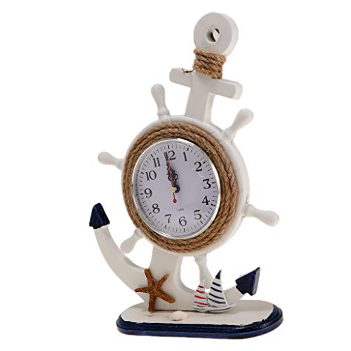 B Blesiya Rustic Wooden Anchor Shaped Desk Clock for Christmas Home Store Decoration Gifts – Coffee