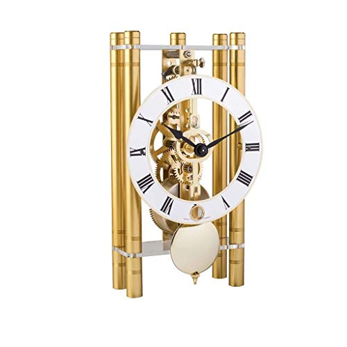 Qwirly Mikal Mechanical Table Clock #23020500721 by Hermle – Roman Style Skeleton Chiming Desk or Mantle Clock – Gold with Gold Pendulum