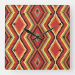 African Red Green Orange Yellow Ethnic Art Square Wall Clock