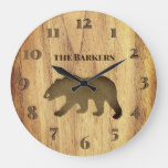 Rustic Black Bear Lodge Large Clock