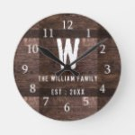 Rustic Wood Monogrammed Family Name Round Clock
