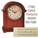 Qwirly 2-Item Bundle: Hermle Clearbrook Quartz Mantel Clock & Personalized Engraved Brass Plaque for Wedding, Anniversary or Employee Retirement