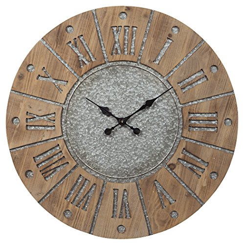 Signature Design by Ashley A8010076 Payson Wall Clock Antique Gray/Natural