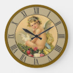 Beautiful Victorian Cherub Angel Dove Large Clock