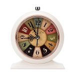 LauderHome 5-Inch Vintage Retro Old Fashioned Decorative Desk Clock with Nightlight, Quartz Analog Large Numerals, Battery Operated, Loud Alarm Clock