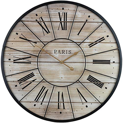 "Sorbus Paris Oversized Wall Clock, Centurion Roman Numeral Hands, Parisian French Country Rustic Modern Farmhouse Décor, Analog Wood Metal Clock, 24"" Round"