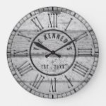 Gray Weathered Wood Family Name Roman Numeral Large Clock