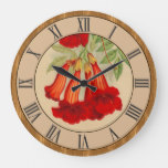 Pretty Rustic Vintage Wood Look Bell Flowers Large Clock