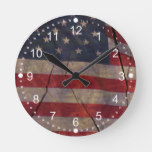 Rustic US Flag Segment Over Cracked Dark Wood Round Clock