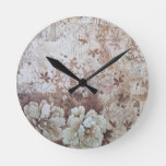 Rustic vintage ivory brown lace floral typography round clock
