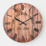 Rustic Wooden Planks Custom Family Name Farmhouse Large Clock