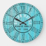 Turquoise Wood Beach House Black Roman Numeral Large Clock