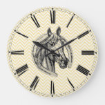 Vintage Horse Cameo Patterned Background Large Clock