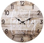 TIME SPENT WITH FAMILY WORTH EVERY SECOND Round Wood Style Wall Clock – Farmhouse Rustic Home Decor – 13 Inches Diameter