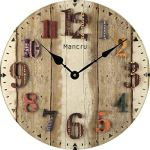 Mancru 0.4 Inch Thickness Vintage Not Cover Silence Wall Clock Shabby Wooden Large Round Non-Ticking Quiet Quartz Wall Clock Decoration Wall Art Clock 10-14inch