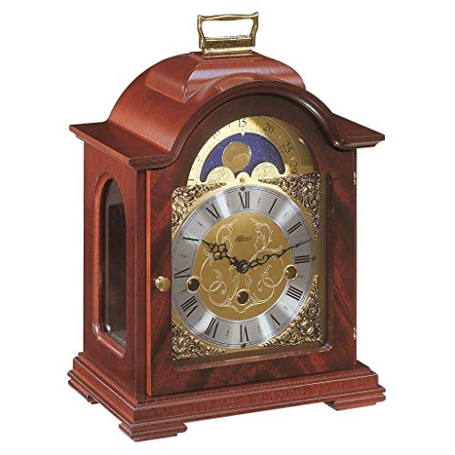 Qwirly Store: Debden Mechanical Table Clock #22864070340 by Hermle – Antique Style Mahogany Wood Chiming Mantel or Desk Clock