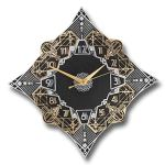 The Metal Foundry 'Paramount' Art Deco Style D?cor Metal Wall Clock. Cast English Brass and Aluminum Hand Polished in England. Retro Vintage Designer Hanging Silent Silver and Gold (Paramount Design)