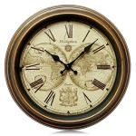 Westzytturm Round Old Antique Clocks for Living room Decor Vintage Classic Rustic Wall Clock Silent Non Ticking Battery Operated Quartz Movement Suitable for Office Home kitchen Mantel(12 inch)