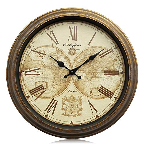 Westzytturm Round Old Antique Clocks for Living room Decor Vintage Classic Large Rustic Wall Clock Battery Operated Non Ticking Silent Quartz Movement Suitable for Office kitchen Mantel(16 inch)