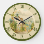 Beautiful Vintage Country Cottage Scene Green Large Clock