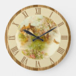 Beautiful Vintage Country Cottage Scene Wood Large Clock