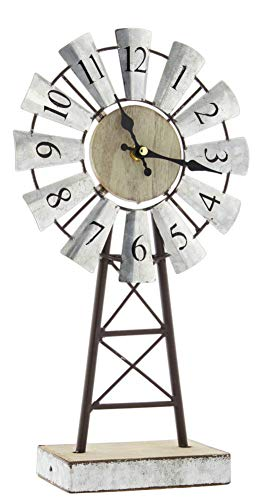 Jan Michaels Primitive Galvanized Metal Windmill Desk Clock