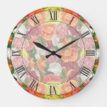 Gorgeous Faded Vintage Flowers Colorful Large Clock