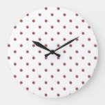 Small Polka Dots Pattern: Rustic Red Large Clock